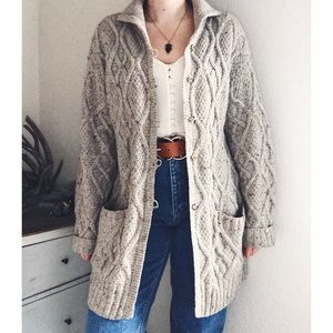 Vintage Handmade Wool Cable Knit Long Cardigan